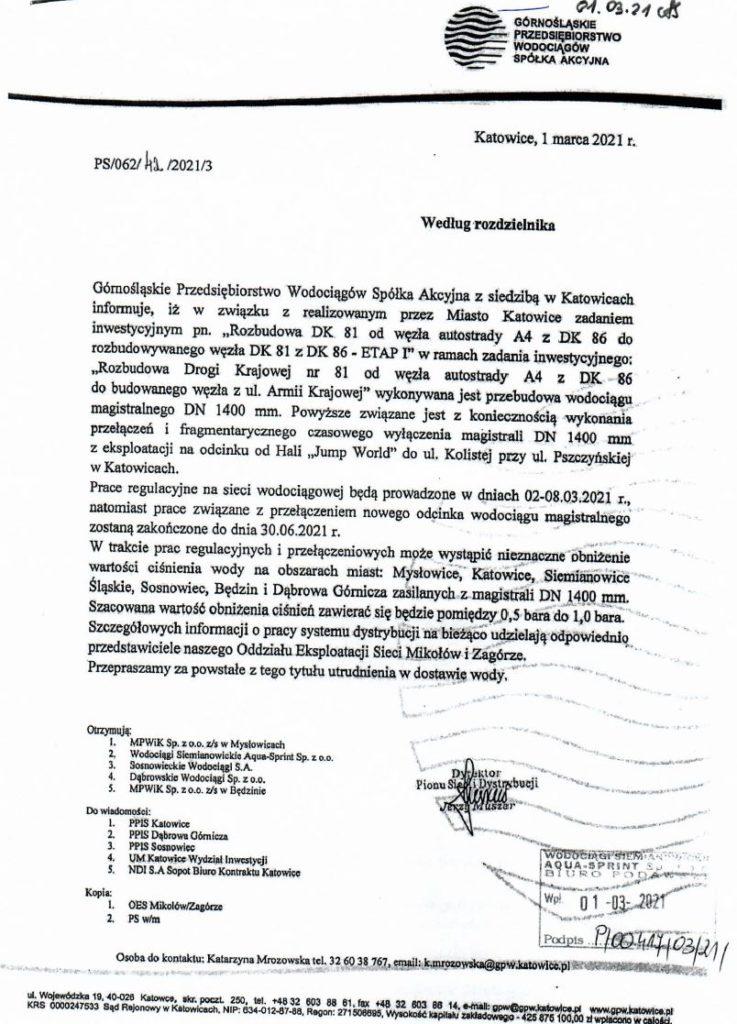 Pismo z GPW dotyczące realizacji inwestycji Rozbudowa Drogi Krajowej nr 81 co wpłynie na ciśnienie wody na terenie miasta Siemianowice Śląskie
