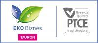 Znak EKO Biznes składający się z dwóch liści a a pod nimi na różowym polu napis Tauron